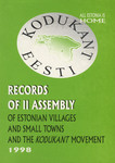 Records of the Second Assembly of the Estonian Villages and Small Towns and the Kodukant Movement
